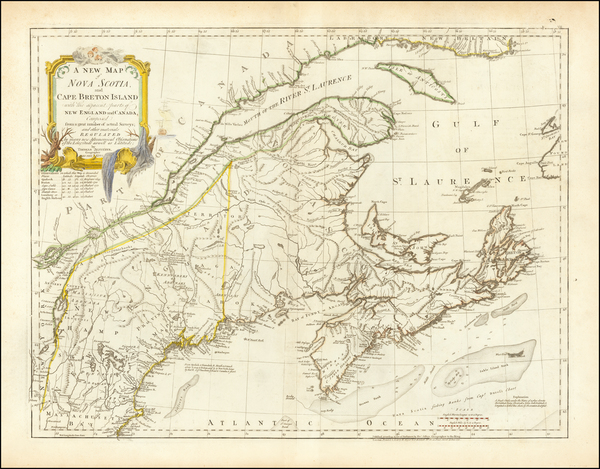 73-New England and Canada Map By Thomas Jefferys