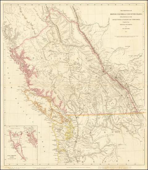 57-Idaho, Montana, Pacific Northwest, Oregon, Washington and Canada Map By John Arrowsmith