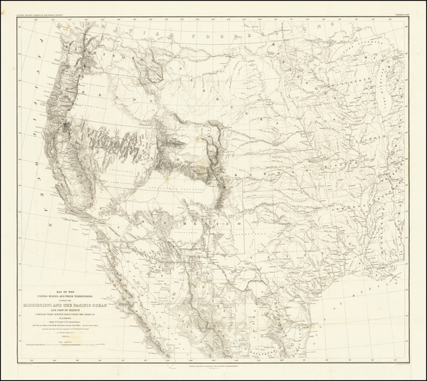 82-Texas, Plains, Southwest, Rocky Mountains and California Map By William Hemsley Emory