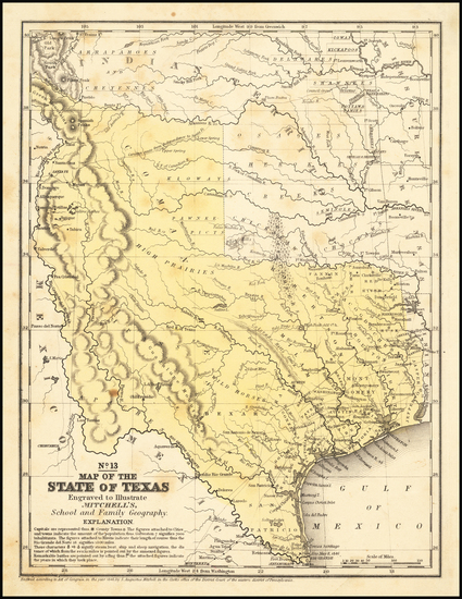 62-Texas Map By Samuel Augustus Mitchell
