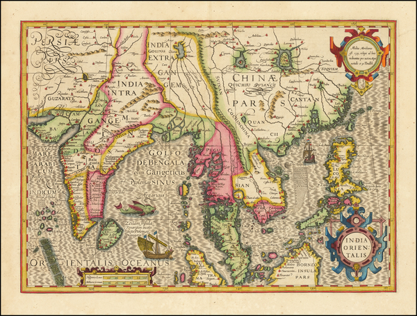 39-China, India, Southeast Asia and Philippines Map By Jodocus Hondius