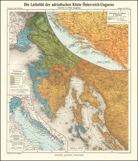 45-Croatia & Slovenia and Bosnia & Herzegovina Map By Augustus Herman Petermann
