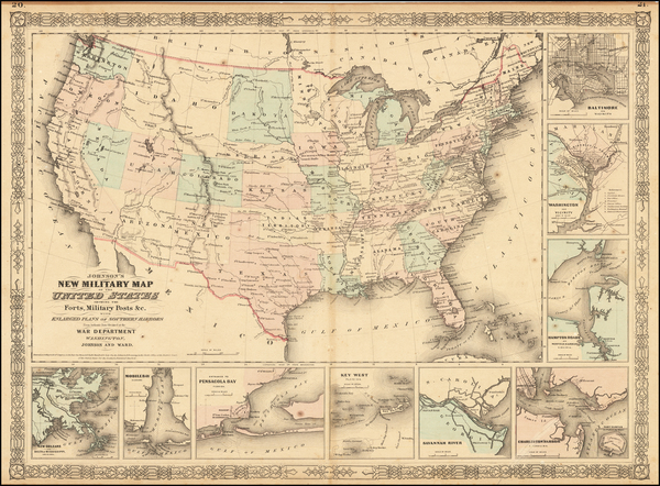 50-United States and Idaho Map By Benjamin P Ward  &  Alvin Jewett Johnson