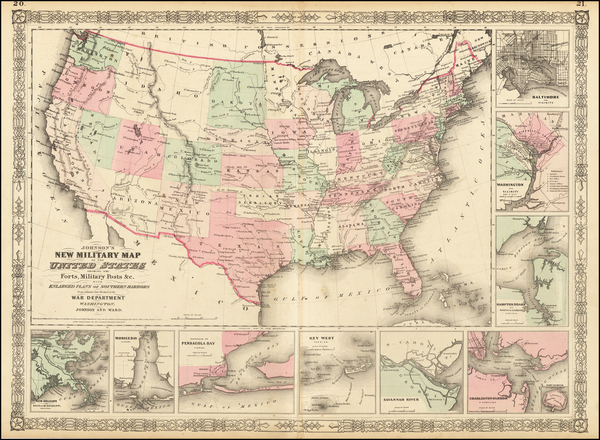 78-United States and Idaho Map By Benjamin P Ward  &  Alvin Jewett Johnson