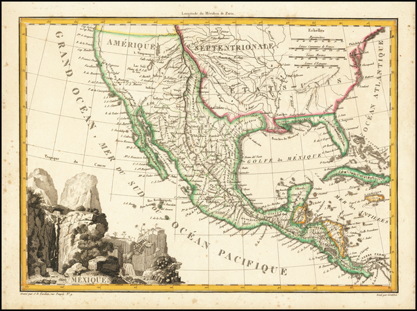 3-Southwest, Rocky Mountains, Mexico and California Map By Conrad Malte-Brun