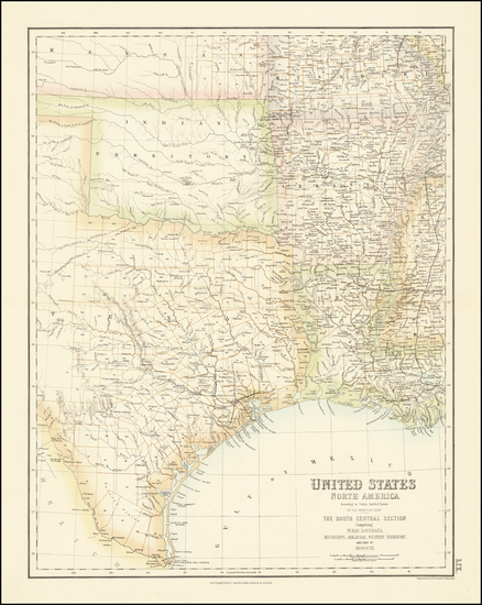 34-Louisiana, Arkansas, Texas, Kansas, Missouri and Oklahoma & Indian Territory Map By Archiba