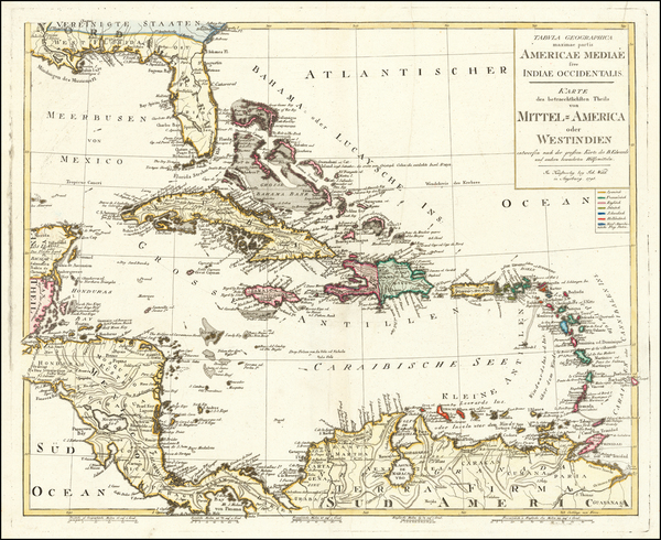 25-Florida and Caribbean Map By Johann Walch