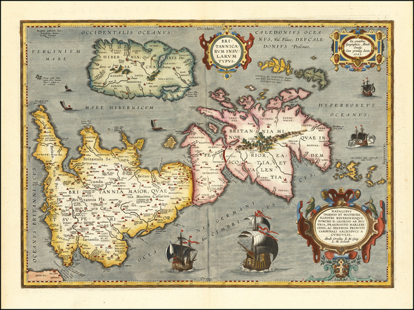 37-British Isles Map By Abraham Ortelius