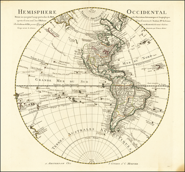 61-Western Hemisphere, Pacific Ocean and Pacific Northwest Map By Johannes Covens  &  Pieter M
