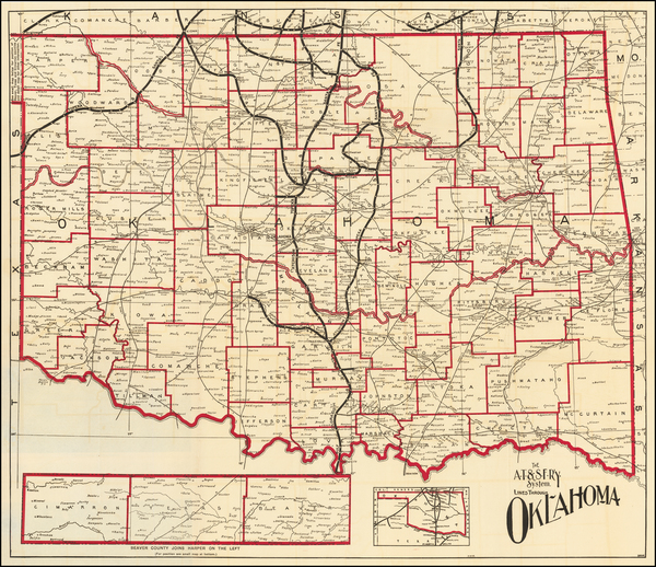 3-Oklahoma & Indian Territory Map By Santa Fe Railroad