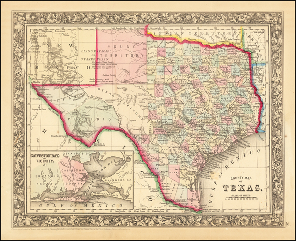 89-Texas Map By Samuel Augustus Mitchell Jr.