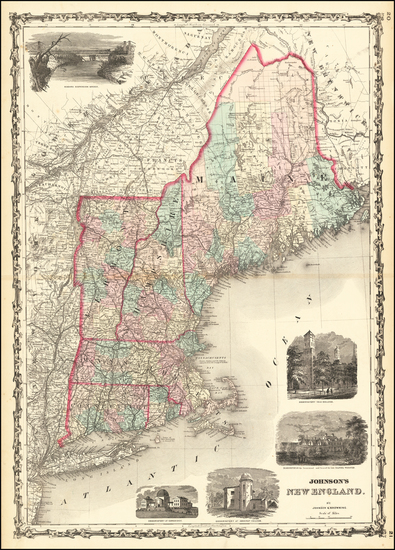 65-New England, Maine, Massachusetts, New Hampshire, Rhode Island and Vermont Map By Alvin Jewett