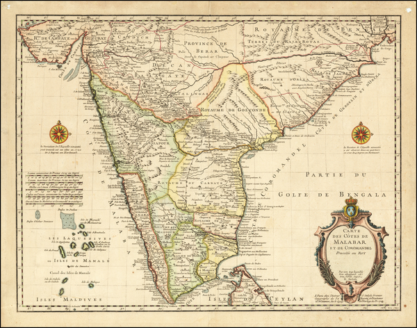 51-India Map By Guillaume De L'Isle