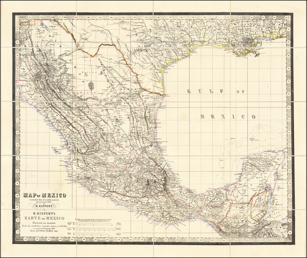 48-Texas and Mexico Map By Heinrich Kiepert