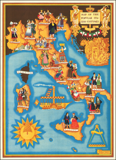 87-Italy and Pictorial Maps Map By Umberto Zimelli / Emma Calderini