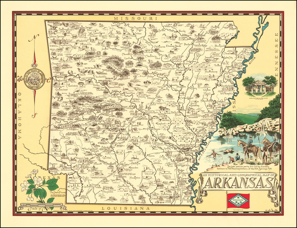 75-Arkansas and Pictorial Maps Map By Karl Smith