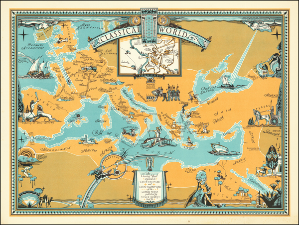 39-World, Europe, Mediterranean and Pictorial Maps Map By William L. Longyear