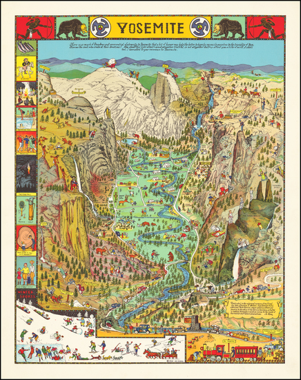 20-Pictorial Maps, California and Yosemite Map By Jo Mora