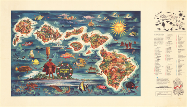 84-Hawaii and Hawaii Map By Hawaiian Pineapple Company