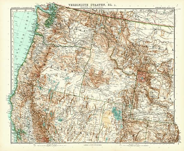 95-Pacific Northwest Map By Adolf Stieler