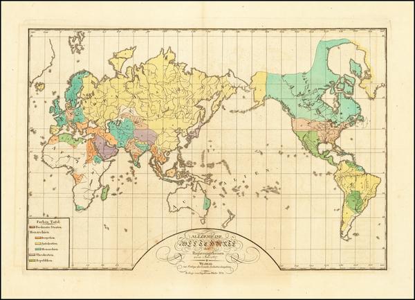 92-World Map By Weimar Geographische Institut