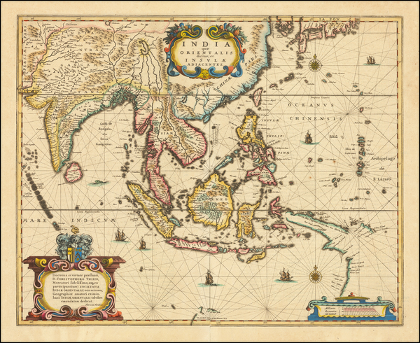 25-China, Southeast Asia, Philippines and Indonesia Map By Henricus Hondius