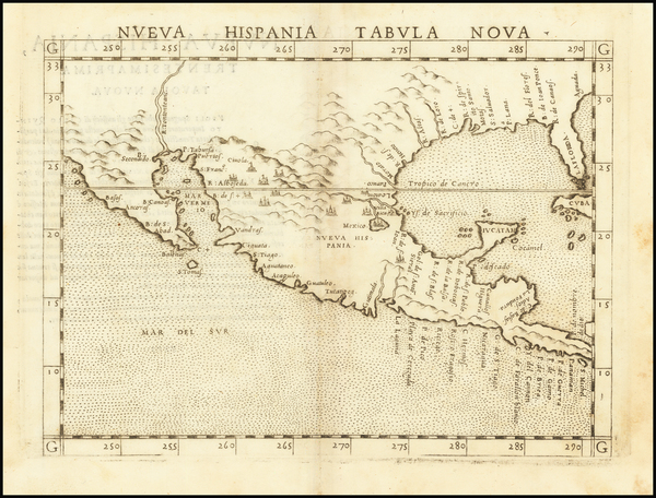 79-South, Southeast, Texas, Southwest and Mexico Map By Girolamo Ruscelli