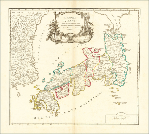 66-Japan and Korea Map By Gilles Robert de Vaugondy