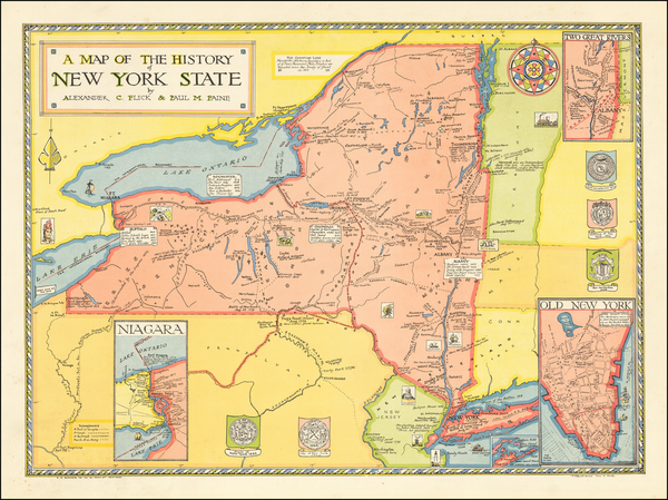 3-New York State and Pictorial Maps Map By Paul M. Paine  &  Alexander C Flick