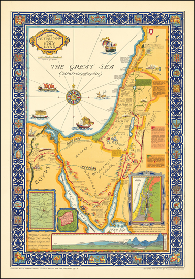 73-Holy Land and Pictorial Maps Map By Harold Haven Brown