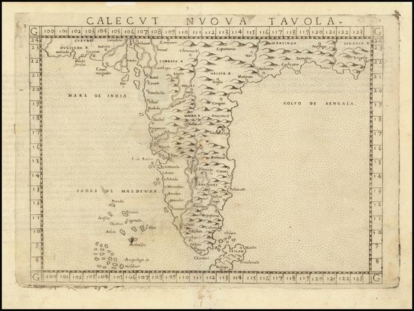 80-India Map By Girolamo Ruscelli