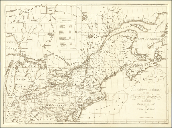 14-New England, New York State, Mid-Atlantic, Midwest and Eastern Canada Map By John Melish / Axel