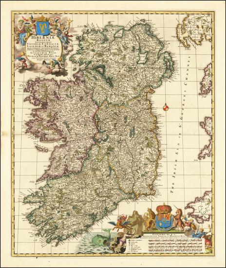 48-Ireland Map By Nicolaes Visscher I