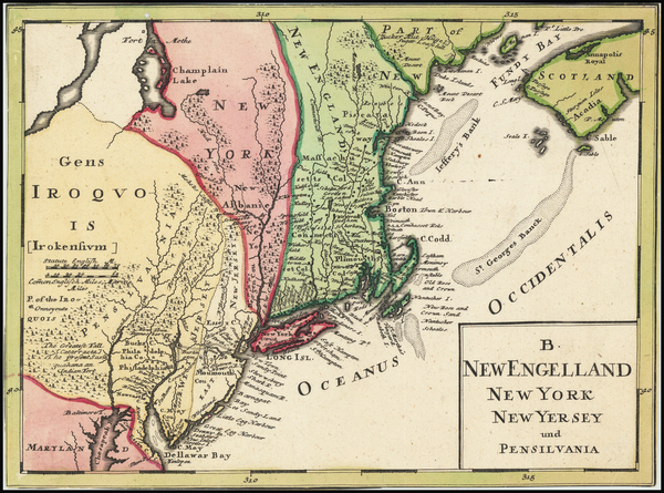 32-New England, New York State and Mid-Atlantic Map By Johann Baptist Homann