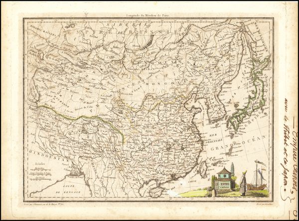 89-China, Japan and Korea Map By Conrad Malte-Brun
