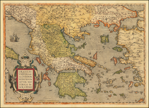 81-Greece Map By Abraham Ortelius