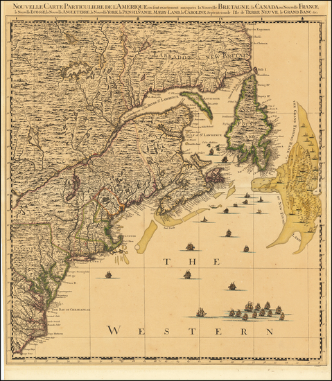78-New England, Mid-Atlantic, Canada and Eastern Canada Map By Johannes Covens  &  Cornelis Mo