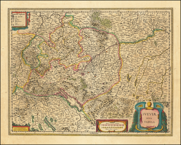 51-Switzerland and Germany Map By Willem Janszoon Blaeu
