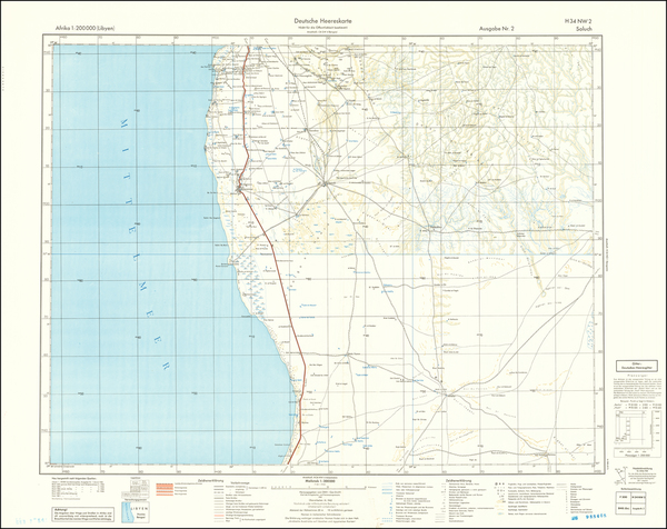 15-North Africa and World War II Map By General Staff of the German Army
