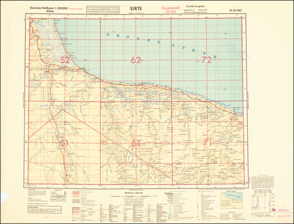 61-North Africa and World War II Map By General Staff of the German Army