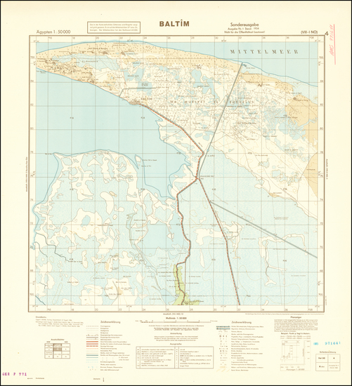 56-Egypt and World War II Map By General Staff of the German Army
