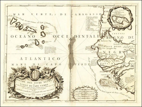 84-West Africa and African Islands, including Madagascar Map By Vincenzo Maria Coronelli