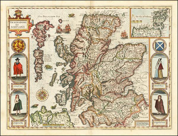 30-Scotland Map By John Speed