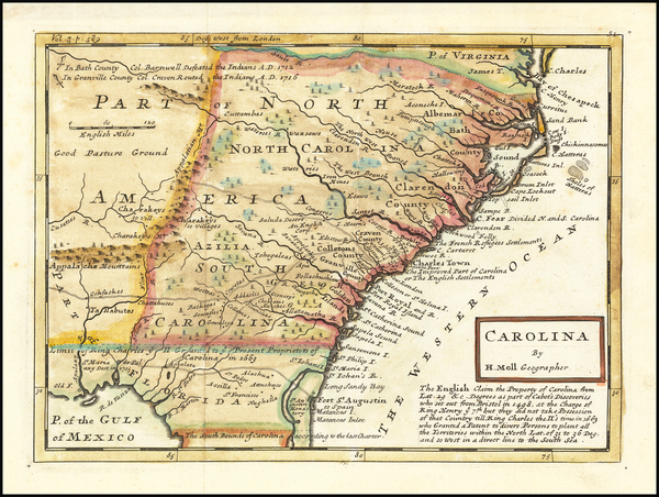 32-Southeast, Georgia, North Carolina and South Carolina Map By Herman Moll