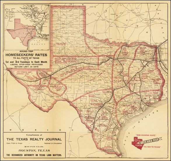 86-Texas Map By Poole Brothers