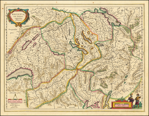 100-Switzerland Map By Willem Janszoon Blaeu