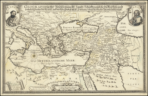 56-Mediterranean, Holy Land and Turkey & Asia Minor Map By Balthasar Christoph Wust
