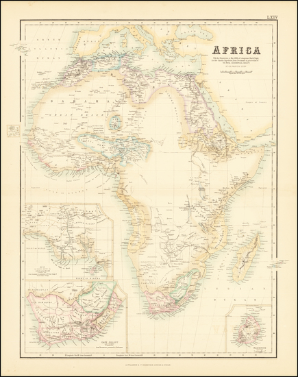 61-Africa Map By Archibald Fullarton & Co.  &  G.H. Swanston