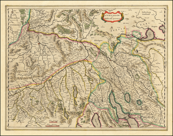 73-Switzerland Map By Willem Janszoon Blaeu