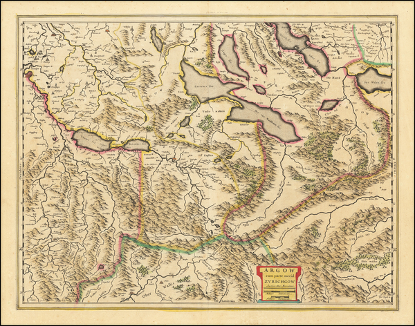 52-Switzerland Map By Willem Janszoon Blaeu